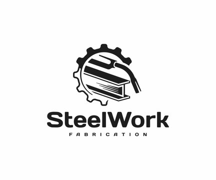 Steel fabrication logo design. Welding torch with steel beam in gear wheel vector design. Metal industry logotype