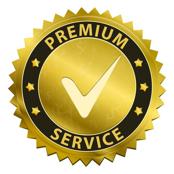 Premium Service and support around the clock 24 hours a day & 7 days a week gold label icon