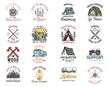 Camping adventure badges logos set, Vintage travel emblems. Hand drawn line art stickers designs big bundle. Hiking expedition, campers quotes labels. Outdoor camper insignias. Stock vector set