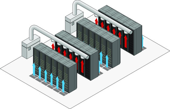 Data center hot and cold aisle rack/cabinet configuration/layout. Arrows show flow of hot and cold air.Cold air enters from raised floor. Hot air vents into overhead ducts.