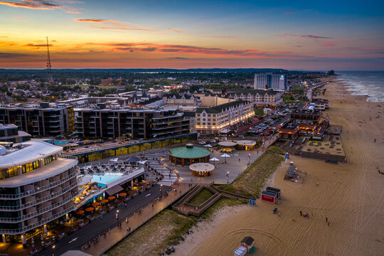 Drone Aerial of Pier Village Long Branch Sunset