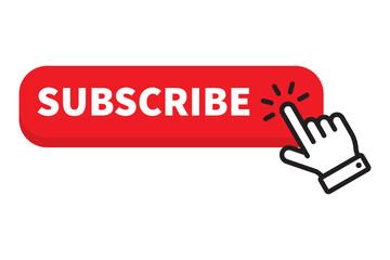 Subscribe red button click cursor or pointer.