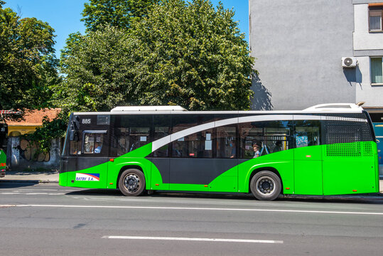 Brasov, Romania- 06 August 2020: Moving electric bus on the city streets.