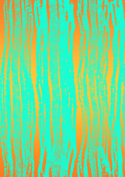 Watercolor art abstract stripes neon mint green pattern  on orange background