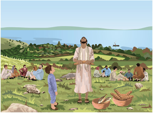 Jesus Feeds The Five Thousand - He Looks Up To Heaven And Gives Thanks - Vector