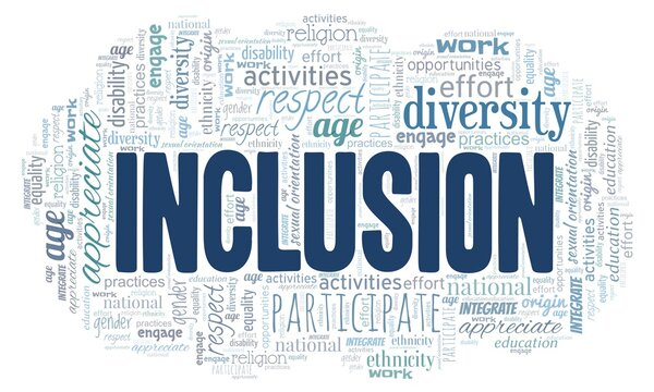 Inclusion word cloud isolated on a white background.