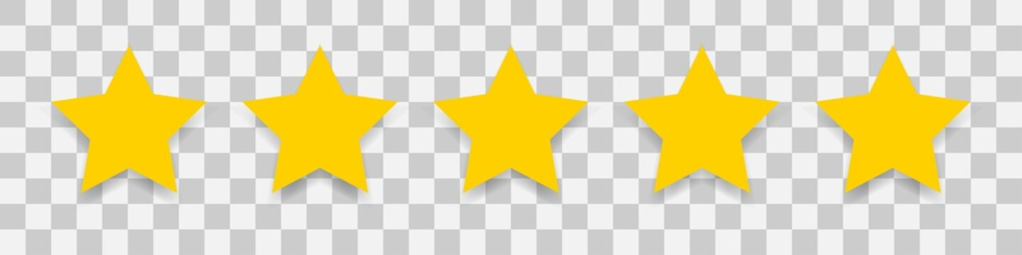5 gold star icon. Vector five stars illustration on transparent background.
