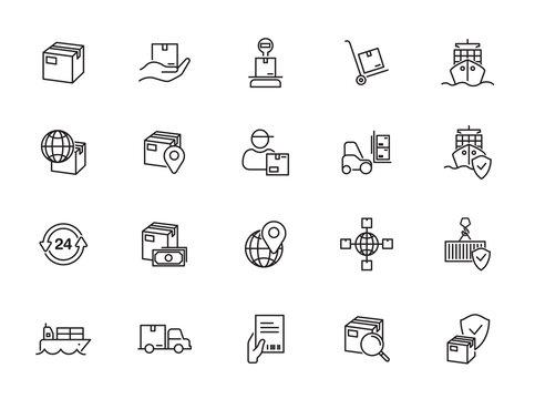 minimal logistic line icon set