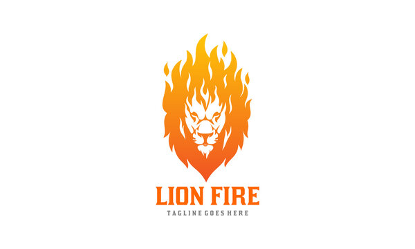 Lion Fire Logo - Flame Lion Head Vector