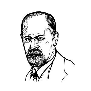 Sigmund Freud - father of psychoanalysis, portrait. Vector illustration