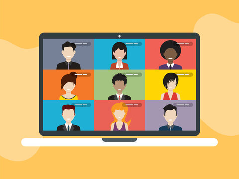 People in meeting by video conference working from home. Business discussion, web chatting, online meeting friends in video call. Group of people talking by internet in social distancing.