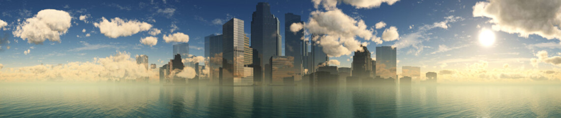 Beautiful panorama of the city on the seashore, skyscrapers above the water, 3D rendering