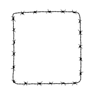 Square frame from barbed wire silhouette. Vector illustration of box shape hand drawn barb wire for flyer or banner. Great for promotion or advertising