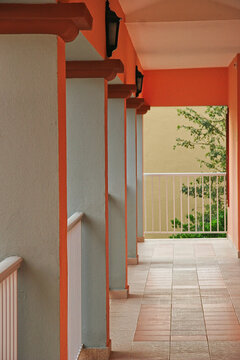Architecture of Exterior Entry Hallway in a Tropical Resort