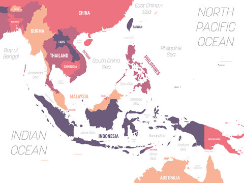 Southeast Asia map. High detailed political map of southeastern region with country, ocean and sea names labeling