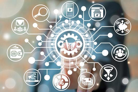 Marketing Digital Media Business Internet Technology. Martech Strategy Development Concept.