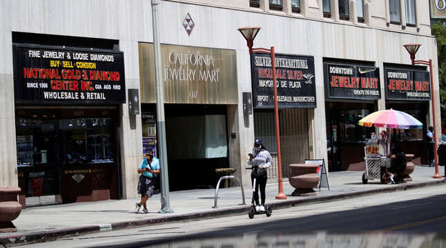 Gold and jewellery stores are pictured in the downtown jewellery district in Los Angeles