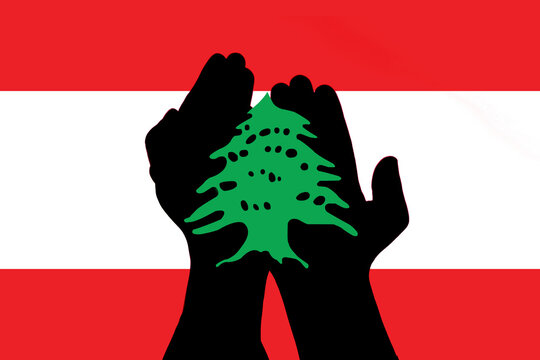 Abstract image of lebanon flag have praying hand shadow inside, in pray for beirut concept.