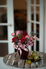 Roses & cut kiwi