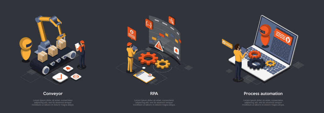 Concept Of Process Automation With High Technology And Programming. Characters Refine Production Processes With Robotic Process Automation. Robot Manage By Conveyor. Isometric 3D Vector Illustration