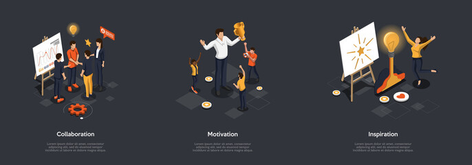 Fototapeta Concept Of Collaboration, Creativity In Business And Real Life. Male And Female Characters Work In Team On New Project Or Startup Following Inspiration, Motivation. Isometric 3D Vector Illustration