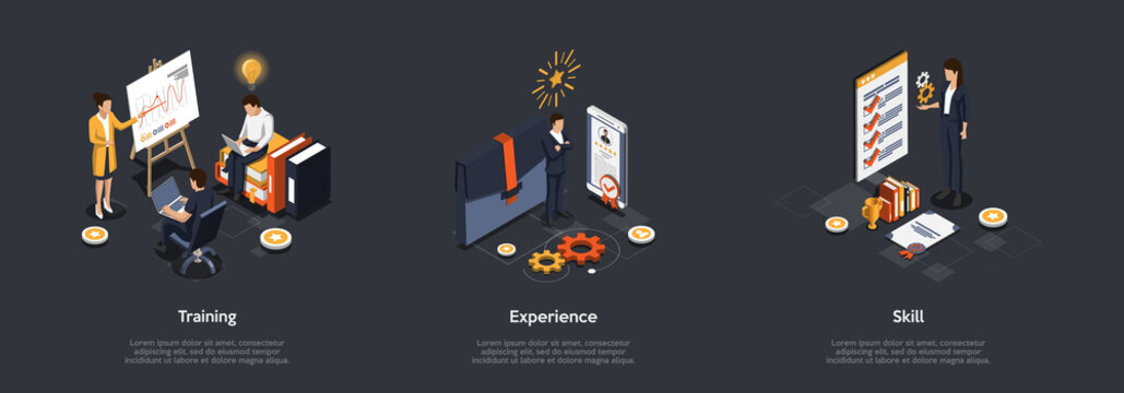 Business Presentation Concept. Leader Make Presentation With Infographic On Screen With Charts. Using Personal Experience And Skills. Characters Make Note In Laptops. Isometric 3d Vector Illustration