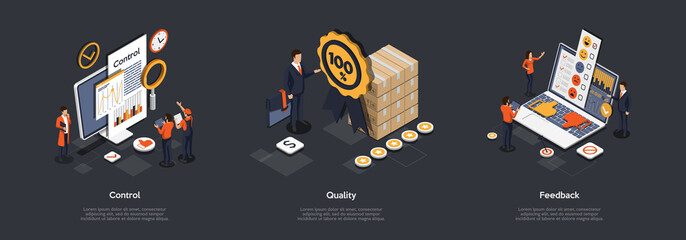 Fototapeta Concept Of Product Quality Control. Business People Men And Women Analyse Feedback On The Internet, Consider Customers Wishes, Control Quality Of The Product. Isometric 3D Vector Illustrations Set