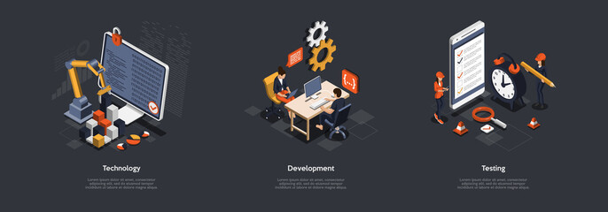 Fototapeta Concept Of Teamwork, Partnership And Goal Achieving. Group Of Business People Working On New Business Projects, Identifying And Reach Goals Together Working In Team. Isometric 3D Vector Illustration