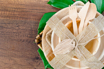 Kitchenware made from dried betel nut leaf palm, natural material.