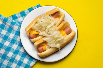Montreal hot dog with cabbage on yellow background
