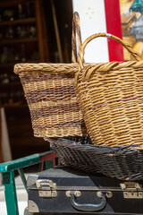 rustic items with old suitcases and wicker basket