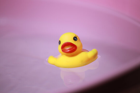 Yellow squeaky ducky in the pool, Selective focus