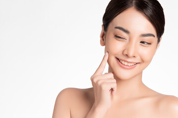 Beautiful Young asian Woman with Clean Fresh Skin, on white background, Face care, Facial...