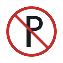 no parking sign in crossed out red circle flat style icon