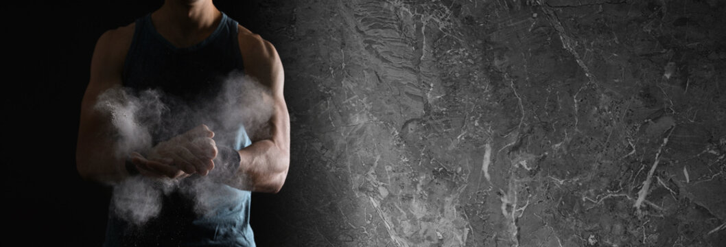 Collage with photo of strong man applying magnesium powder in modern gym and grunge surface. Banner design, space for text