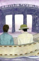 猪牙舟に乗って橋を見上げる近代日本の男性二人