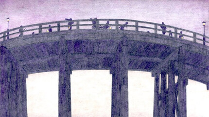 下から見上げた夕暮れの近代日本の橋