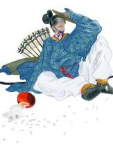 大笑する古代日本の武官