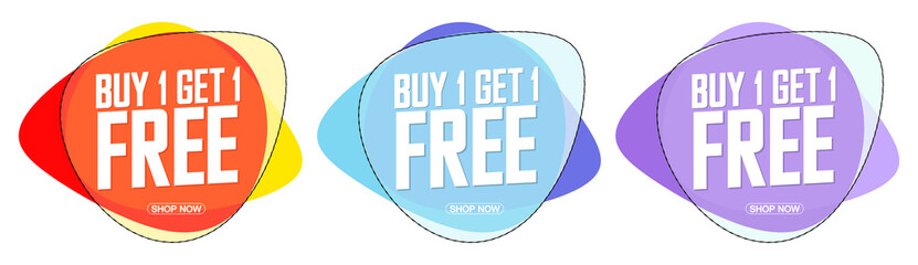 Buy 1 Get 1 Free, set sale bubble banners design template, discount tags, bogo, vector illustration