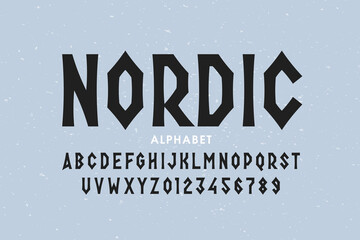 Fototapeta Nordic style font design, alphabet letters and numbers