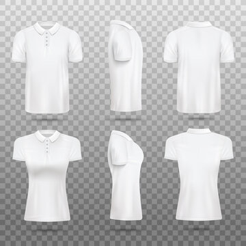 Men and women polo shirt realistic vector mockups set, illustration isolated.