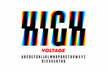 High Voltage style font design, alphabet letters and numbers