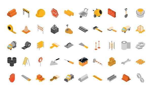 isometric repair construction work tool and equipment brick barrier helmet sign board shovel saw screwdrive flat style icons set