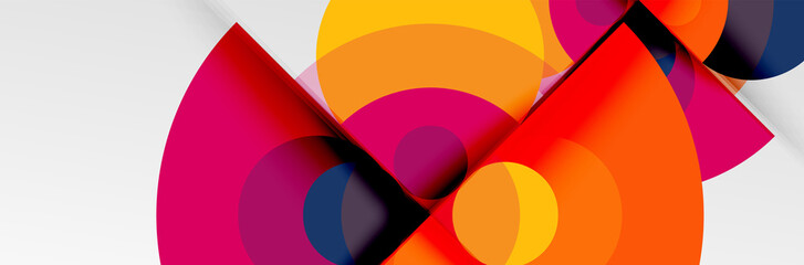 Fototapeta Bright color circles, abstract round shapes and triangles composition with shadow effects. Vector modern geometric design template obraz