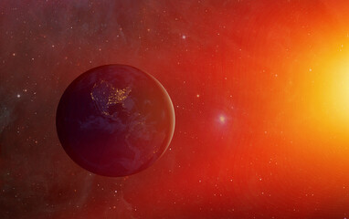 Wall Mural - Planet Earth with a spectacular sunset