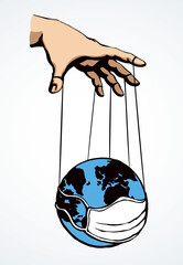 Man hand with a World map. Vector drawing concept