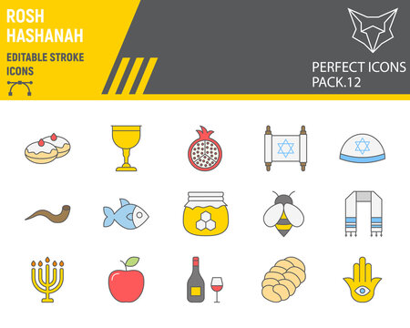 Rosh hashanah color line icon set, hanukkah collection, vector sketches, logo illustrations, shana tova icons, rosh hashanah signs filled outline pictograms, editable stroke.