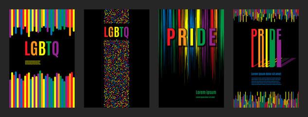 Lgbtq rainbow flag freedom community, pride pattern on black background, colorful cover illustration.