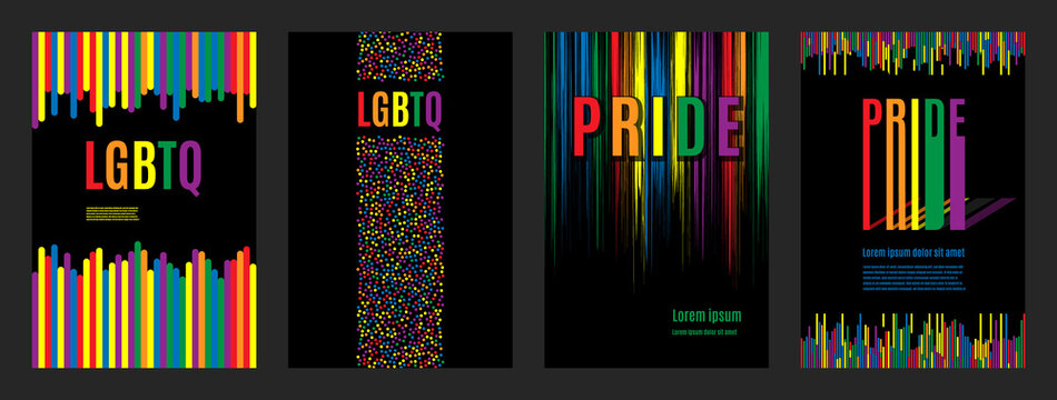 Lgbtq rainbow flag freedom community, pride pattern on black background, colorful cover illustration.
