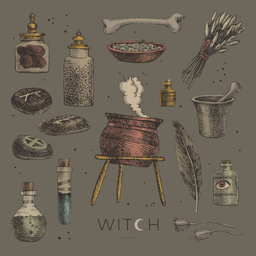 Large set of mystical items for witchcraft vector illustration. Elements of a witch or wizard set: cauldron, banks and vials of potion, bones, feather, herbs, magic stones. Wicca and pagan traditions.